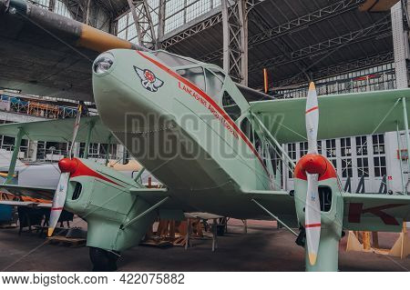 Brussels, Belgium - August 17, 2019: Restored De Havilland Dh.89a Dragon Rapide G-aknv In The Royal