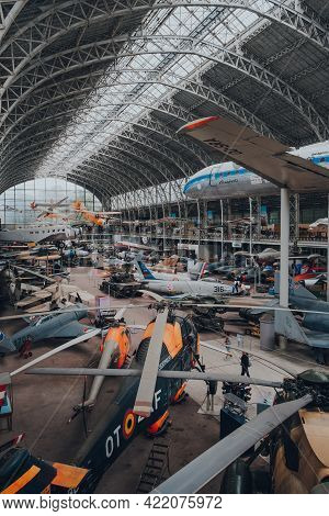 Brussels, Belgium - August 17, 2019: View From First Floor Of Military And Civil Aircrafts Inside Av