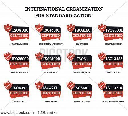 Set Of International Organization For Standardization Certified Sign Icon.