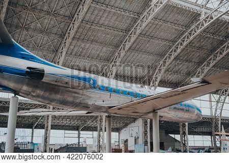 Brussels, Belgium - August 17, 2019: Sud Aviation Se 210 Caravelle Vi N French Jet Airliner Inside T