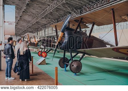 Brussels, Belgium - August 17, 2019: Visitors Looking At Sopwith F.1 Camel Aircraft In The Royal Mus