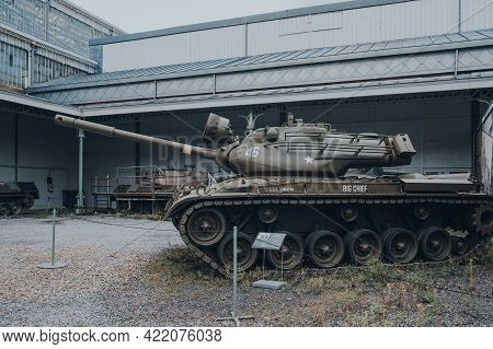 Brussels, Belgium - August 17, 2019: Side View Of American Sherman Tank On Exhibit At The Royal Muse