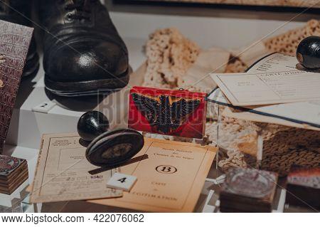 Brussels,belgium - August 17,2019: German War Memorabilia In The War, Occupation, Liberation New Per