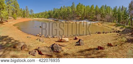 A Tiny Lake In The Mingus Mountain Recreation Area Near Jerome Arizona. There Is Still Winter Snow L