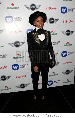 LOS ANGELES - FEB 10:  Janelle Monae arrives at the Warner Music Group post Grammy party at the Chateau Marmont  on February 10, 2013 in Los Angeles, CA..