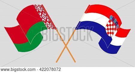 Crossed And Waving Flags Of Belarus And Croatia