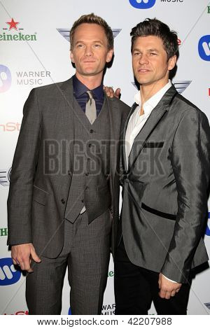 LOS ANGELES - FEB 10:  Neil Patrick Harris, David Burtka arrive at the Warner Music Group post Grammy party at the Chateau Marmont  on February 10, 2013 in Los Angeles, CA..