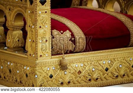 Bucharest, Romania - May 10, 2021: The Throne Of King Carol I Of Romania Is Exhibited On Its Origina