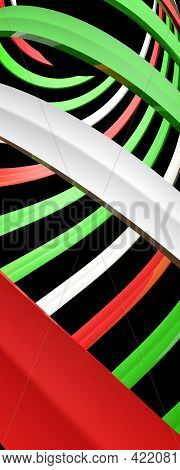 Green, White And Red Spiral On Black Background - 3d Rendering Illustration
