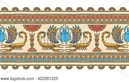 Horizontal Seamless Pattern, Ancient Egyptian Decorative Ornament With Scorpions, Scarabs And Palms,