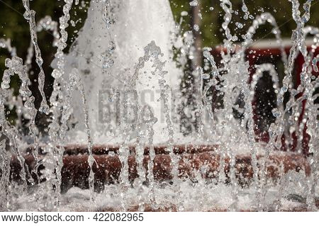 Selective Blur On The Water Jet Of A Fountain, With A Stream Flowing In The Air. This Water Stream I
