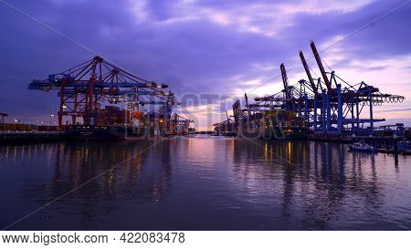Port Of Hamburg Container Terminal By Night - Timelapse - Hamburg, Germany - May 11, 2021