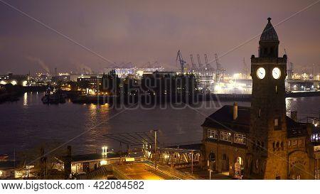 Beautiful Port Of Hamburg By Night - Hamburg, Germany - May 10, 2021