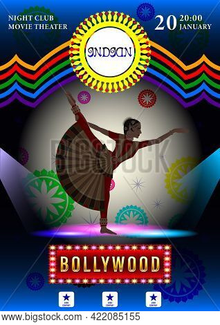 Indian Woman In National Costumes Dance Hand Drawn Color Vector.