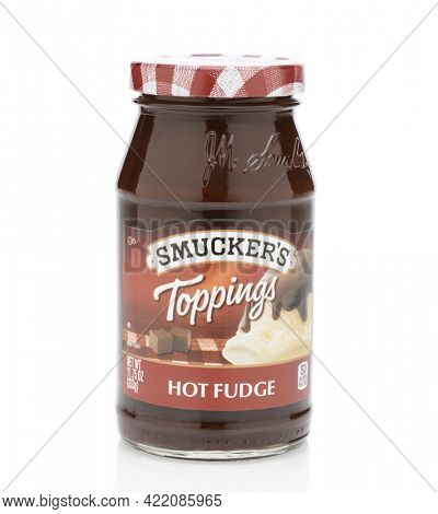 IRVINE, CA - SEPTEMBER 12, 2014: Smucker's Hot Fudge Topping. Smucker's was founded in 1897 producing fruit spreads, ice cream toppings, beverages, shortening, natural peanut butter, and more.