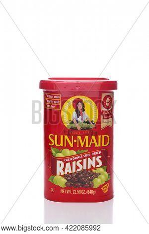 IRVINE, CA - NOVEMBER 8, 2017: Sun-Maid Raisins. Sun-Maid is the largest raisin and dried fruit processor in the world