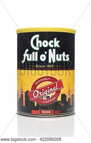 IRVINE, CALIFORNIA - OCT 27, 2018: A can of Chock Full o Nuts Coffee. The brand originated from a chain of New York City coffee shops.