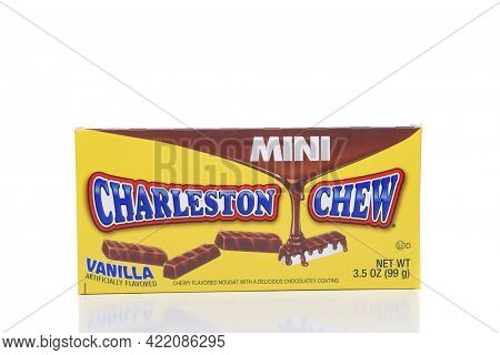 IRVINE, CALIFORNIA - AUGUST 21, 2017:  Charleston Chew Mini. Charleston Chew, created in 1925,  is a candy bar consisting of flavored nougat covered in chocolate flavor coating.