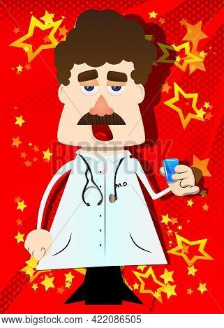 Funny Cartoon Doctor Drinking Brandy. Vector Illustration. Health Care Worker With  Small Glass Of A