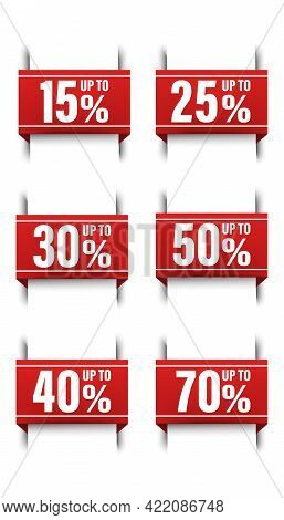 Big Vector Collection Of Icon Illustrations Of Red Ribbon Banners, Sale Bookmark Of Up To 50, 15, 25