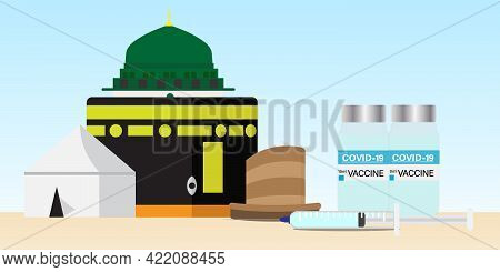 A Vector Of Hajj Places Need To Visit Kaaba, Arafah Tent, Nabawi Mosque And Mina Jamrah With Two Dos
