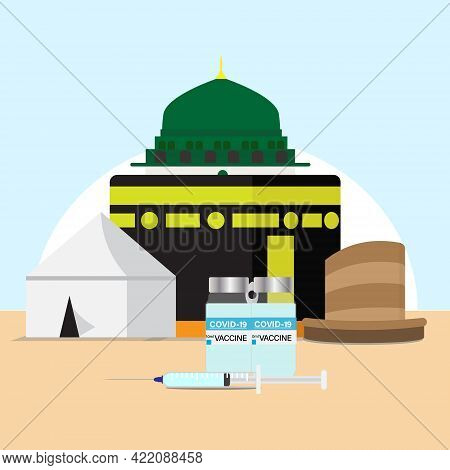 A Vector Of Hajj Places Need To Visit Kaaba, Arafah Tent, Nabawi Mosque And Jamrah With Two Doses Of