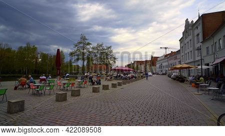 Market Square In The City Center Of Lubeck Germany - Lubeck, Germany - May 11, 2021