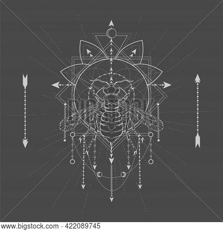 Vector Illustration With Hand Drawn Wasp And Sacred Geometric Symbol On Black Background. Abstract M