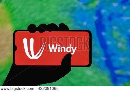 Kazan, Russia - May 29, 2021: Windy Is Interactive Weather Forecasting Service Worldwide. Windy Logo