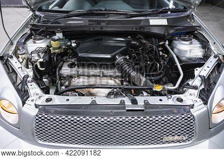 Novosibirsk, Russia - May 29, 2021:toyota Rav-4,  Car Engine Close-up. Internal Combustion Engine, C