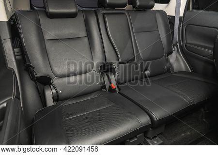 Novosibirsk, Russia - May 29, 2021:mitsubishi Outlander, Leather Interior Design, Car Passenger And