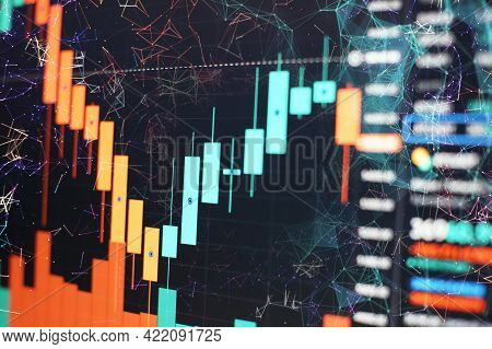 Stock Market Or Forex Trading Graph And Candlestick Chart Suitable For Financial Investment Concept,