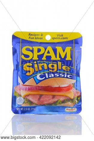 IRVINE, CALIF - SEPT 12, 2018: Spam Singles. A single serving package of the popular spiced ham product.