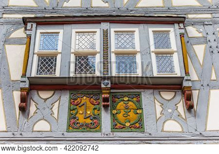 Windows On A Traditional Half Timbered House In Limburg An Der Lahn, Germany