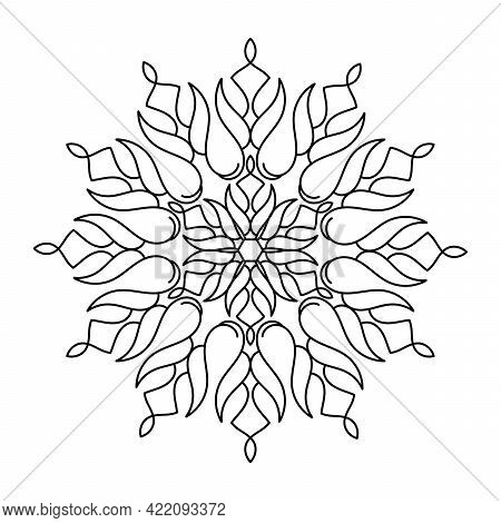 Coloring Book For Adult And Children. Mandala, Hand Drawn Pattern. Vector Abstract Black And White M