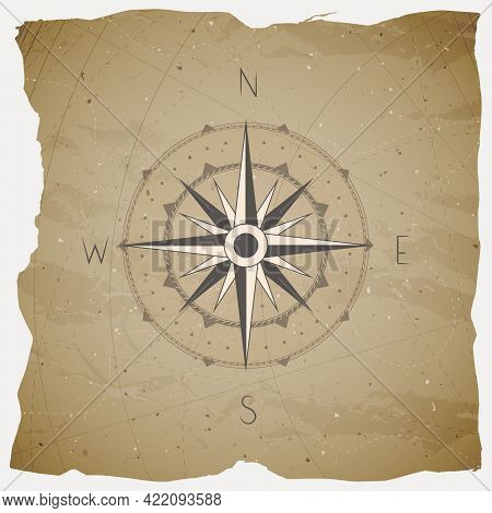 Vector Illustration With A Vintage Compass Or Wind Rose On Grunge Background. With Basic Directions