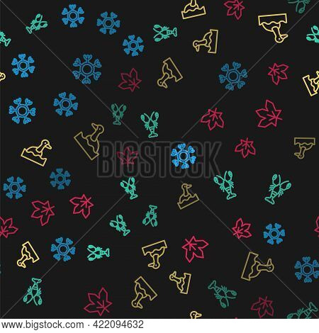 Set Line Snowflake, Lobster, Flying Duck And Canadian Maple Leaf On Seamless Pattern. Vector