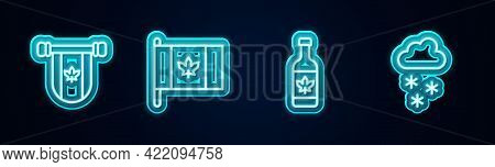 Set Line Pennant Canada, Flag Of, Beer Bottle And Cloud With Snow. Glowing Neon Icon. Vector