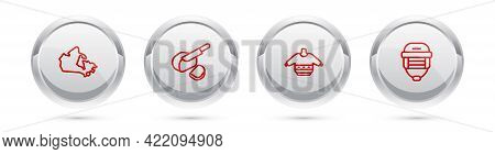 Set Line Canada Map, Peameal Bacon, Christmas Sweater And Hockey Helmet. Silver Circle Button. Vecto