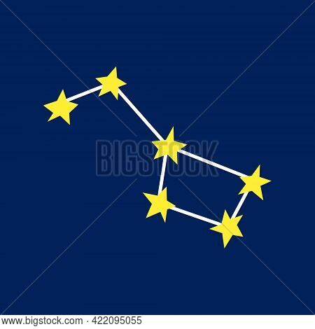 Constellation. Yellow Stars. Vector Illustration. Icon On A Blue Background