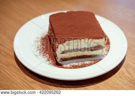 Tiramisu Served On Plate In The Restaurant