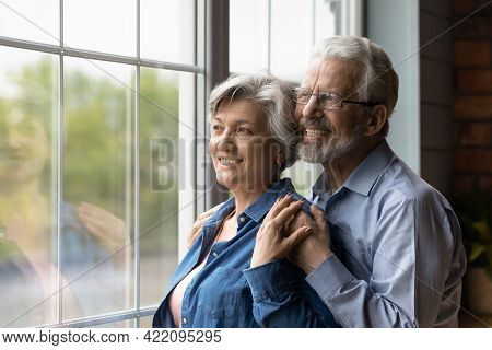 Dreamy Serene Mature Spouses Looking Out The Window