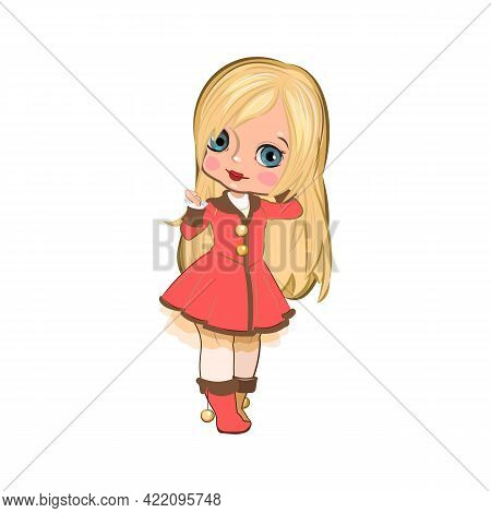 Little Girl In Russian Winter Clothes. Handsome Fashionable Child. The Isolated Object On A White Ba
