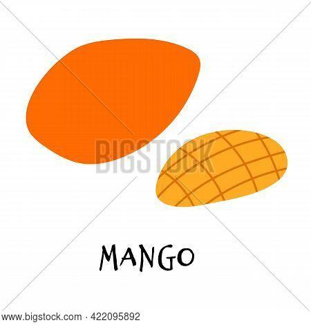 Vector Illustration Of Ripe Mango In Hand Drawn Flat Style.