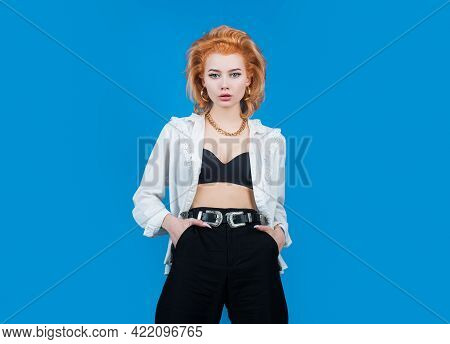 Sensual Portrait Of Elegant Young Woman In Fashionable Dress In Studio. Beautiful Girl Fashion Model
