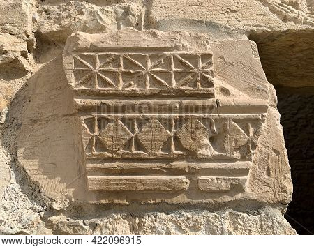 Preserved Ornament On The Ruins Of The Ancient Nabataean Settlement Of Shivta In The Negev Desert