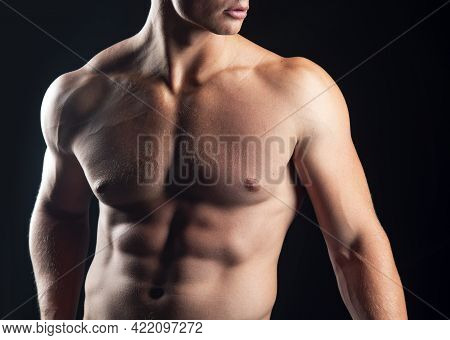 Naked Man Torso. Nude Gay Guy. Sexy Muscular Male Body. Bare Muscular Fitnes Model.