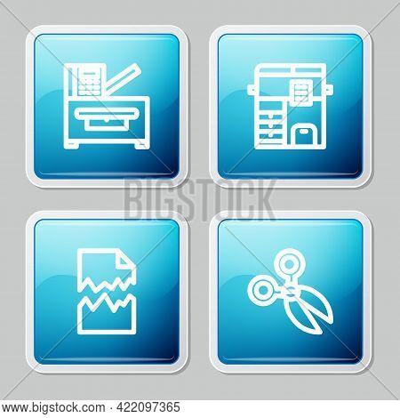 Set Line Copy Machine, , Torn Document And Scissors Icon. Vector