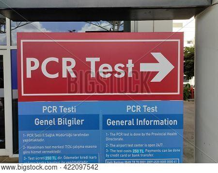 Antalya, Turkey - May 11, 2021: Pcr Testing Center At Terminal International Airport.