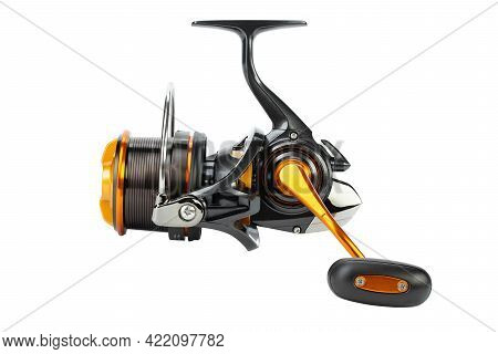 The Fishing Reel Is Designed For Catching Large Fish Both At Sea And In Rivers. Tackle Isolated On W